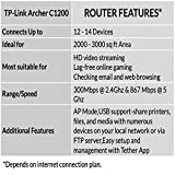 TP-Link Archer C1200 Dual Band Gigabit Wireless, Wi-Fi Speed Up to 867 Mbps/5 GHz + 300 Mbps/2.4 GHz, 4 Gigabit LAN Ports, 1 USB Port, Supports Parental Control, Guest Wi-Fi, VPN, Broadcom Chipset Router