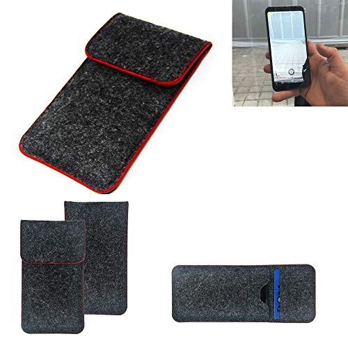 K-S-Trade® Filz Schutz Hülle Für Energizer Powermax P600S Schutzhülle Filztasche Pouch Tasche Case Sleeve Handyhülle Filzhülle Dunkelgrau Roter Rand