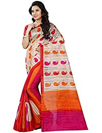 Shree Sanskruti Women's Bhagalpuri Art Silk Printed Saree With Blouse Piece (BHAGALPURI SAREE 24_Multicolour_Free...