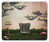 Vintage Mouse Pad, Retro Antique Ancient Sofa Armchair Lamp in Nature Waterfall Like Backdrop Artwork, Standard Size Rectangle Non-Slip Rubber Mousepad, Multicolor