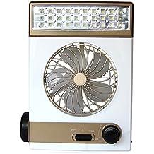 Hrph 3 en 1 multi-función de mini ventilador portátil LED lámpara de mesa de luz solar linterna para acampar al aire libre casero