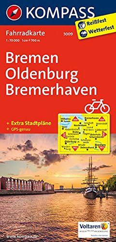 Bremen, Oldenburg, Bremerhaven: Fahrradkarte. GPS-genau. 1:70000: Fietskaart 1:70 000 (KOMPASS-Fahrradkarten Deutschland, Band 3009)