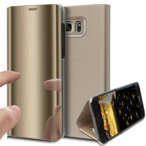 46be49e2cdf HMTECH Galaxy S6 Edge Coque Luxe Clear View Etui Cuir Galvanoplastie Miroir  Mirror Makeup Coque étui