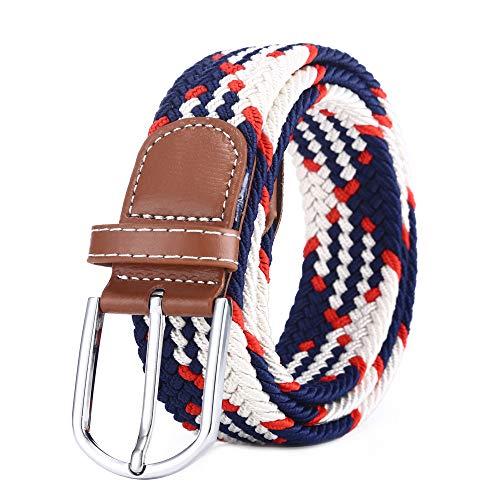 BOZEVON Cinturón elástico tejido - Multi-colores Cinturón de tejido elástico trenzado la tela de estiramiento para Hombres Mujeres Azul oscuro y blanco y naranja
