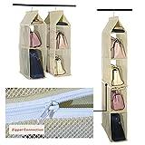 Staccabile 6scomparto organizer borsa organizer per armadio trasparente borsa bag Collection sistema salvaspazio armadi, supporto di immagazzinaggio organizzatori per soggiorno camera da letto Home use Beige