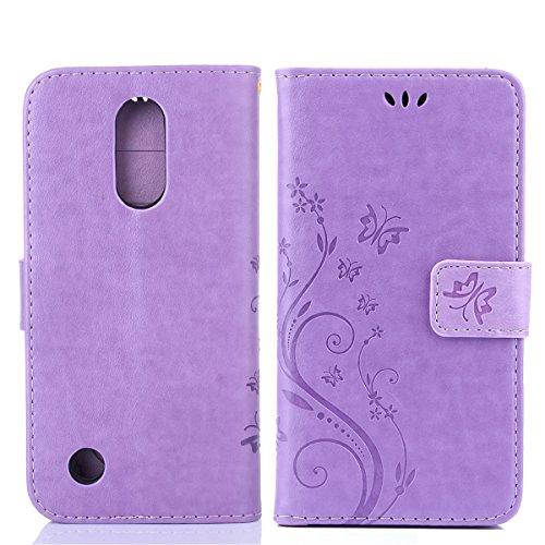 Funda LG K10 2017, Cáscara LG K10 2017, Alfort 2 en 1 Casco de Protección Relieve Carcasa PU Cuero Sintético + 1 raíz horca Cierre Magnético Carcasa del teléfono con una función de soporte y la cartera Material de la PU de alta calidad Suave Mariposa y Flor ( Púrpura )