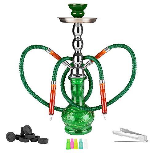 Mianova® Wasserpfeife 2er Orientalische Shisha für Partner Höhe 60 cm Duo Glas Bowl 2 Schläuche, 5 Mundstücke, Zange und Kohle 1 Rolle Grün (Große Shisha Bowl)