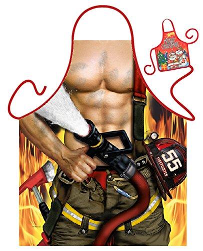 Tini - Shirts Feuerwehrmann Motiv Kochschürze sexy Männerkörper Feuerwehr Kostüm Schürze : Feuerwehrmann - Weihnachtssgeschenk-Set - Deko Geschenk Flasche Weihnachten