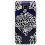 JIAXIUFEN TPU Coque - pour Samsung Galaxy A3 (2015) Ecran: 4,5 pouces Silicone Étui Housse Protecteur - Big White Flower On Dark Blue Back Pattern