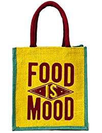 "H&B Beautiful, Trendy & Stylish Multi Color Jute Handbag/Quality Lunch Bag, ""FOOD Is MOOD"" Text."