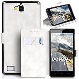 DONZO Tasche Handyhülle Cover Case für das Huawei Honor 3C in Weiß Wallet Washed als Etui seitlich aufklappbar im Book-Style mit Kartenfach nutzbar als Geldbörse