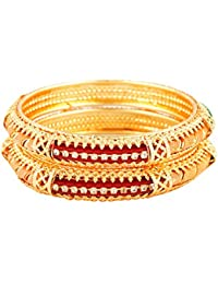 JIC Antique Gold Plated Bangle Jewelry Set Of 2 For Girls And Women In Heavy Look With White Zircon Stones From...
