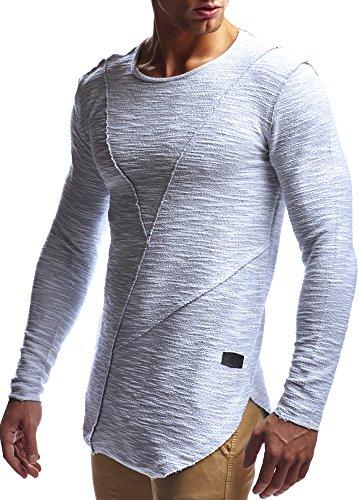 LEIF NELSON Herren oversize Longsleeve Pullover Hoodie Sweatshirt Basic Rundhals Langarm Shirt Hoody Sweater Vintage LN6323 S-XXL; Grš§e L, Grau (Männer Shirt Pullover)
