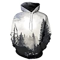 yanghuakeshangmaoyouxiangong Landscape 3D Digital Printing Hooded Couple Sweater Fashion Loose Pullover