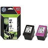 HP 62 Multipack Original Druckerpatronen (1x Schwarz, 1x Farbe) für HP OfficeJet 200, 5740; HP ENVY 5540, 5640, 7640