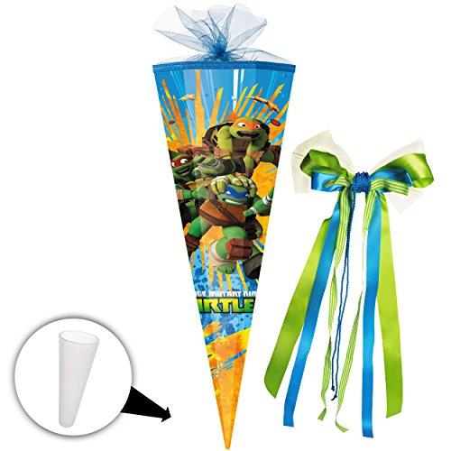alles-meine.de GmbH Schultüte -  Teenage Mutant - Hero Ninja Turtles  - 85 cm - eckig - incl. große 3-D Effekt _ Schleife - Tüllabschluß - Zuckertüte - mit / ohne Kunststoff Sp..