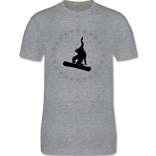 Wintersport - Snowboarder Schneeflocken - Herren Premium T-Shirt Grau Meliert