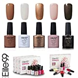 Elite99 Smalto Semipermente per Unghie in Gel UV LED 5 Colori Kit per Manicure Regalo Smalti Gel per Unghie Soak Off 7.3ml - Kit012