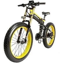 lankeleisi 26 pulgadas Fat tire bicicleta eléctrica plegable 48 V10AH Shimano 27 velocidad llena Suspensión Snow Mountain Beach e-vélo con 1000 W motor, ...