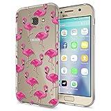 NALIA Handyhülle für Samsung Galaxy A5 2017, Slim Silikon Motiv Case Cover Crystal Schutz-Hülle Dünn Durchsichtig Etui Handy-Tasche Backcover Transparent Phone Bumper, Designs:Flamingo Pink