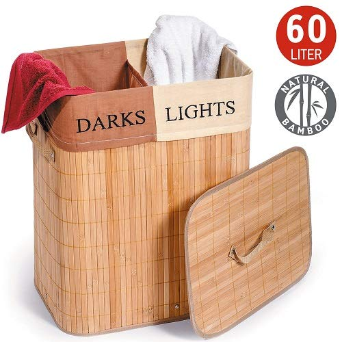 Tatkraft Fortuna Panier a Linge Rectangulaire Bambou avec Sac à  Linge en Coton 2 sections Lights and Darks 60L 42X30X50H cm