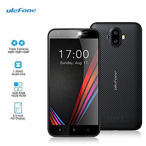 "Smartphone Libre - Ulefone S7 [2018 Última Versión 2GB RAM 16GB ROM] 5.0""HD Teléfono Móvil con Cámara Triple (5MP + 8MP + 5MP) Android 7.0, MTK 6580 Quad Core 1.3GHz, 2500mAh, negro"