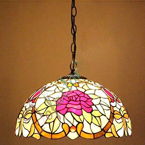 Hängeleuchte im Victoria/Tiffany-Stil, 16 Zoll, Buntglasschirm mit Rosenblüten und anderes Metallzubehör, Hängelampe 2-Licht, 110-240 V / E27 / E26