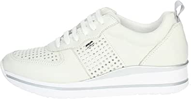 Valleverde 36391 Sneakers Zeppa Donna Bianco Pelle Traforato Ultralight