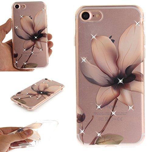 Ooboom® Coque pour iPhone 5SE Housse Transparent TPU Silicone Gel Étui Cover Case Souple Ultra Mince avec Bling Glitter - Paon Fleur Magnolia