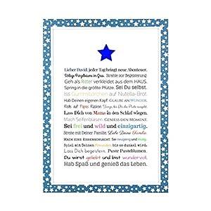 Geschenk für Baby oder Neugeborene – Bild für Jungen in DIN A4: Personalisierte Geschenkidee als Gastgeschenk für Geburtstag – Gastgeschenk Geburt