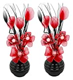 Flourish 796167 Fleurs artificielles en soie avec vase ovale pourpre noir violet 75cm, Verre, Pair of Black/Red, 10x10x32 cm