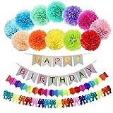 15pcs 25,4cm Wimpelkette Birthday Regenbogen Papier Girlande, Papier Pom Poms (12Farben), Happy Birthday Banner für Geburtstag Party Dekorationen