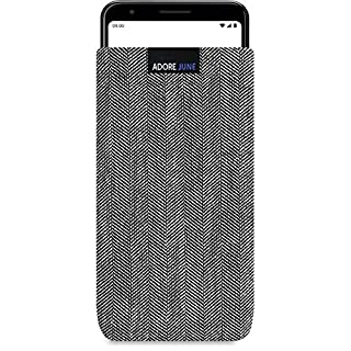 Adore June Business Pouch compatible with Google Pixel 3a, Characteristic Material Fabric Sleeve with Display Cleaning Effect, Grey/Black