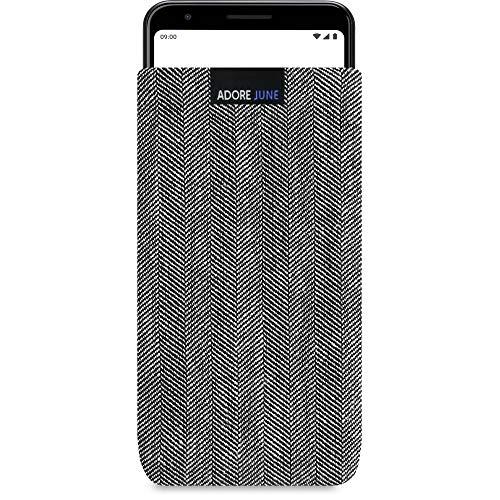 Adore June Business Tasche passend für Google Pixel 3a Handytasche aus charakteristischem Fischgrat Stoff - Grau/Schwarz | Schutztasche Zubehör mit Display Reinigungs-Effekt | Made in Europe