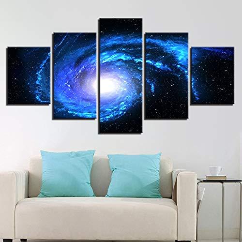 mmwin Modern HD Print Wall Art Foto su Tela 5 Pezzi Spazio Whirlpool Cielo Stellato Paesaggio Astratto Poster Home Decor