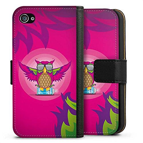 Apple iPhone X Silikon Hülle Case Schutzhülle Eule Pink Sonnenbrille Sideflip Tasche schwarz