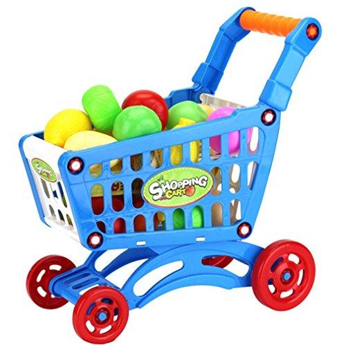 Kinder-Einkaufswagen, zum Drücken, für Mamum, Einkaufswagen, Obst, Gemüse, Spielzeug, Lernspielzeug Einheitsgröße blau