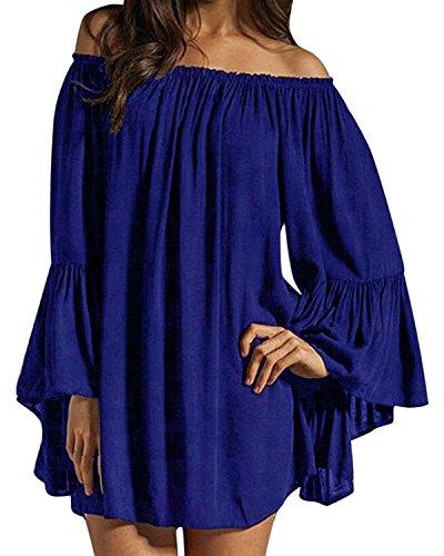 Kleid Blau Sexy (ZANZEA Damen Schulterfrei Chiffon Langarm Abend Party Club Oberteil Mini Kleider Königsblau EU 42-44/Etikettgröße L)