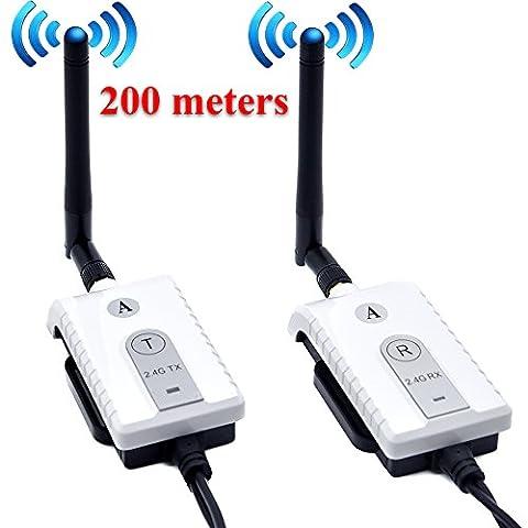 Auto Wayfeng WF® de voiture sans fil 2,4GHz câble AV émetteur et récepteur pour bus de voiture moniteur vidéo Caméra de recul vue arrière de recul Camion 200metres de portée