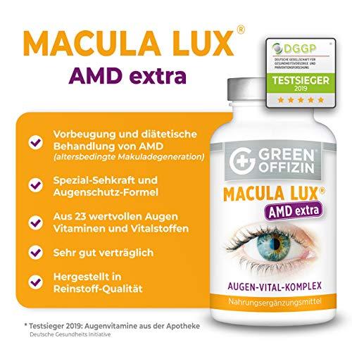 MACULA LUX AMD Extra Augen-Vitamine Kapseln Hochdosiert bei Makuladegeneration – Sehkraft Augen-Schutz Formel mit Lutein, Zeaxanthin, Lycopin, Vitamin A, C, B, Zink, Selen, DHA