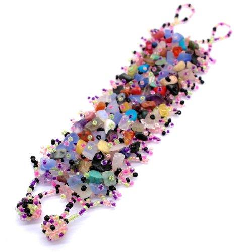 Ancho único Natural piedra artesanal mezcla del arco iris brazalete de cuentas de cristal de la semilla - declaración de la joyería, regalo único