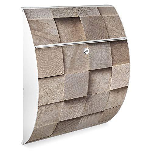 Burg Wächter Design Briefkasten   Modell Riviera 46cmx33,5cmx13cm groß   verzinkter Stahl Weiß   Postkasten mit Öffnungsstopp, großer A4 Einwurf, Zylinderschloss, 2 Schlüssel   Motiv Bauklötze Relief