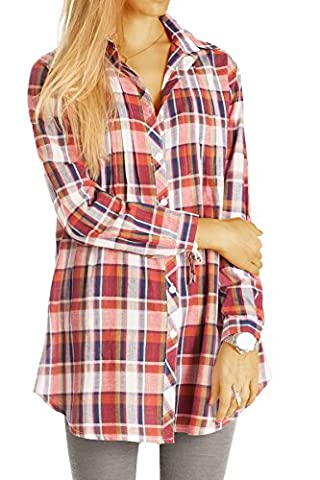Bestyledberlin Damen Blusen, Lange karierte Hemden Baumwolle, Leichte Langarm Damenbluse, Longblusen t49z M