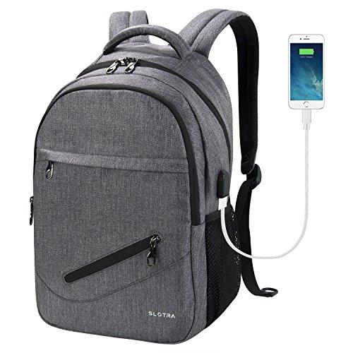 SLOTRA Mochila para Portátil de 14 Pulgadas con Puerto de Carga USB Mochila de Ordenador Mochila Para Escuela Universitaria Mochila de Bolsa Gris Oscuro
