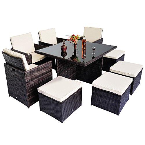 Outsunny® Polyrattan Gartenmöbel 21 tlg. Rattan Essgruppe Gartenset Lounge Sitzgruppe Sofa Loungemöbel Garnitur inkl. Kissen Alu