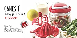 Triton Retails Ganesh Easy Pull 3 In 1 Unbreakable ABS Plastic Chopper, Whisker, Blender and Juicer combo, Ganesh easy Pull 3 in 1 Chopper, Ideal for Onion, Vegetables, Dry Fruits, Nuts, Herbs, Shakes Juices Blending, 650ml / 125mm, 1 year brand warranty