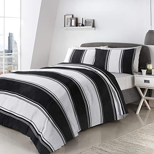 Fusion Betley Parure de lit, 52% Polyester 48% Coton, Noir et Blanc, Double