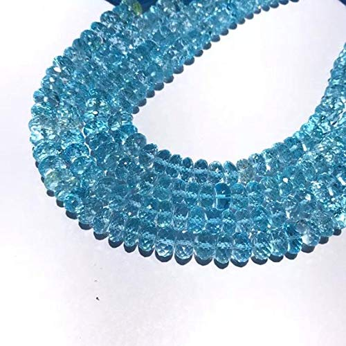 Blue Topaz Beads Sky Blue Faceted Rondelles Rondels Roundels Earth Mined Semi Precious Beads -Sky BT 6 to 7 mm Aprox 9.5