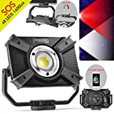LED building spotlight with battery, LED work spotlight, camping lamp, 48 LEDs, 1600 lumen, 20W, rechargeable handy with magnetic clip stand, wireless lamp, SOS mode, emergency 2.1A quick charge