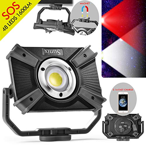LED building spotlight with battery, LED work spotlight, camping lamp, 48 LEDs, 1600 lumen, 20W, rechargeable handy with magnetic clip stand, wireless lamp, SOS mode, emergency 2.1A quick charge -